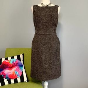 Banana Republic Brown Tweed Wool Sheath Dress 4